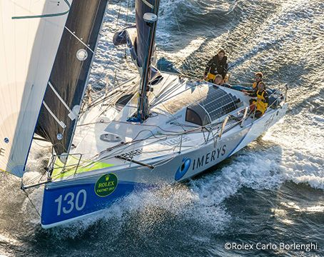 Phil Sharp racing on his solar power sailboat