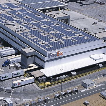 FedEx building with solar panels on roof